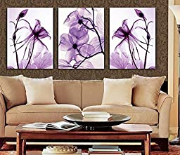 Spirit Up Art Hot Sell Transparent Purple Flowers HD Print on Canvas Abstract Art Modern Home Decoration Wall Painting Set of 3 Each 40*60cm #11-synj-11 (framed)