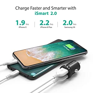 Car Charger RAVPower 24W 4.8A Mini Dual USB Car Adapter, Compatible with iPhone XS Max XR X 8 7 Plus, iPad Pro Air Mini and Galaxy S9 S8 Plus, Edge Note Series and More (Black) (Color: Black)
