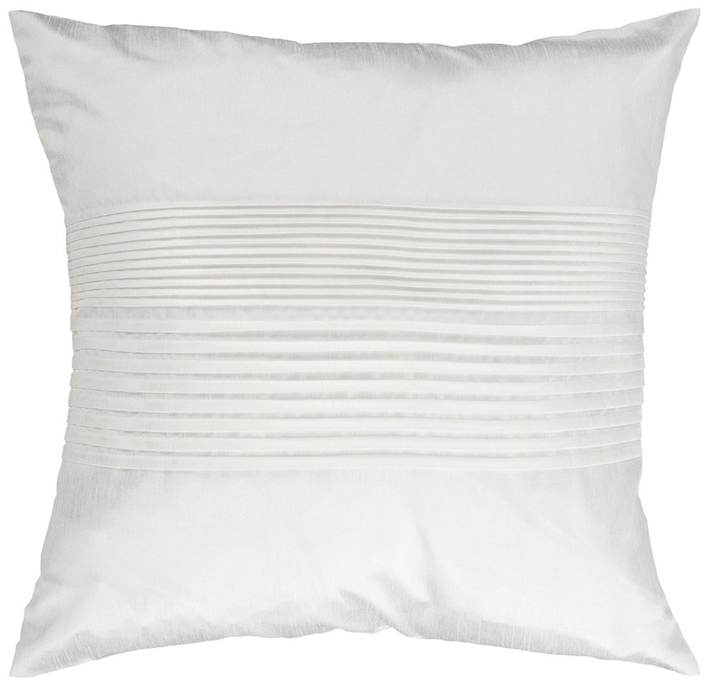 Surya HH-017 Hand Crafted 100% Polyester White 18 x 18 Solid Decorative Pillow
