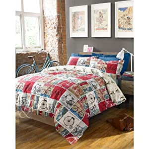 VINTAGE TOUR DE PARIS DUVET COVER Retro Patchwork Cream Red Blue Bedding Se