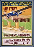 Vintage Travel PORTSMOUTH, SOUTHSEA AND ISLE OF WIGHT AVIATION LTD. AIR FERRY FROM SHANKLIN AND RYDE c1932 250gsm Gloss Art Card A3 Reproduction Poster