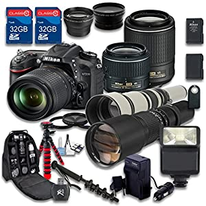 Nikon D7200 DSLR + AF-S DX NIKKOR 18-55mm f/3.5-5.6G VR Lens + AF-S DX NIKKOR 55-200mm f/4-5.6G ED VR II Lens + 500mm f/8 Preset Lens + 650-1300mm f/8-16 Manual Focus - International Version