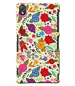 Blue Throat Leaves And Flower Pattern Printed Designer Back Cover For Sony Xperia Z3