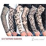 RayLineDo 6X Temporary Tattoo Fancy Funky Fashion Costume Novelty 92% Nylon and 8% Lycra Tattoo Arm Leg Stockings Sleeves