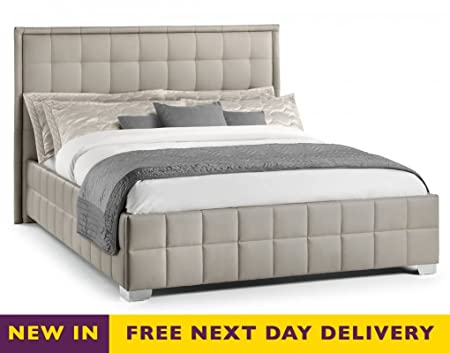 Julian Bowen Knightsbridge Taupe Upholstered Faux Leather Bed, Size: 4ft'6 Double or 5ft King Size