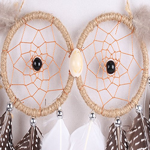 XY Fancy 1 Piece Wall Hanging or Car Hanging Dream Catcher with Owl Feather Decoration Linen