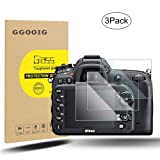 [3 Pack] GGOOIG Screen Protector Compatible with Nikon D7100/D7200/D800/D800e/D810/D750/D600/D610/D500, High Definition 9H Hardness Camera Tempered Glass Screen Protector (Color: Clear)
