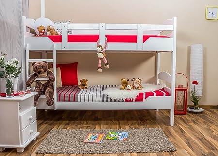 """Etagenbett / Stockbett """"Easy Sleep"""" K13/n, Kopf- und Fußteil gerundet, Buche Vollholz massiv Weiß - Maße: 90 x 200 cm, teilbar"""