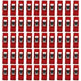 50pcs Sewing Craft Quilt Binding Clips Clamps Clear and Red