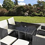 Rattan Cube Garden Furniture Set 8 seater outdoor wicker 9pcs (Black)