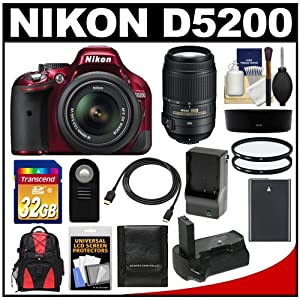 Nikon D5200 Digital SLR Camera & 18-55mm G VR DX AF-S Zoom Lens (Red) with 55-300mm VR Lens + 32GB Card + Backpack + Grip + Battery & Charger + Filters Kit