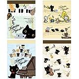 San-X Character Series Mini Memo Pad SET of 4 (Nyanko, Sumikko Gurashi, Rilakkuma, Korilakkuma, Kiiroitori, Sentimental Circus) (Black Cat Concert-MW06401)