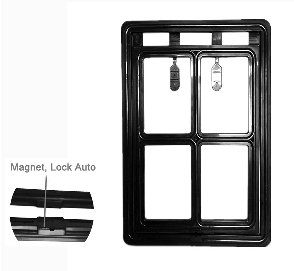 Magnetic dog door automatic lock pet window screen flap for Automatic locking dog door