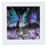 WhiteOak Art Designs Fairy Prints - Delighted A fairy with flowers - 10x10 inch quilt square (qs_22527_1)