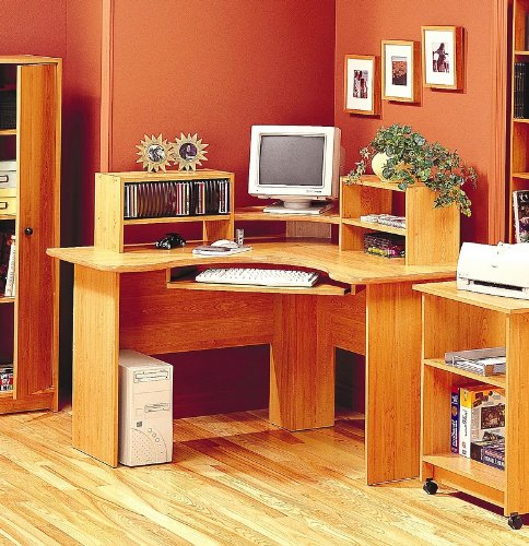 Buy Low Price Comfortable Maple Finish Corner Computer Workstation Office Desk (B00136AS16)