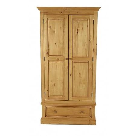 Armoire en pin massif 2 portes + 1 tiroir Pays-Armoire en pin massif 2 portes + 1 tiroir Pays