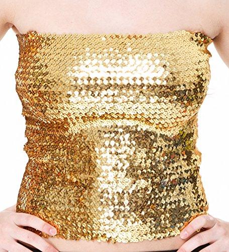 Top a tubo lungo con lustrini  / corpino da ballerina di disco party o gonna metallica cosparsa di lustrini e glitter