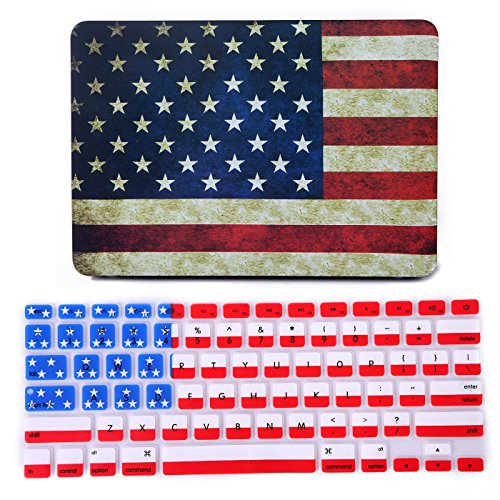 HDE MacBook Pro 13 Inch Retina Case Hard Shell Cover Rubberized Soft Touch Plastic with Silicone Keyboard Skin Fits (No CD Drive) Model A1425 and A1502 (US Flag) (America Laptop Cover compare prices)