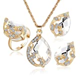 Jewelry Sets for Women Teen Girls Cheap Cuekondy Peacock Crystal Chain Pendant Necklace Earrings Adjustable Rings Wedding Gift (White)