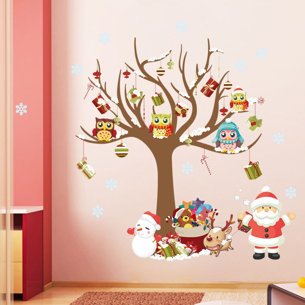 ElecMotive® Merry Christmas Santa Claus Owls Christmas Tree Gifts Wall Decals