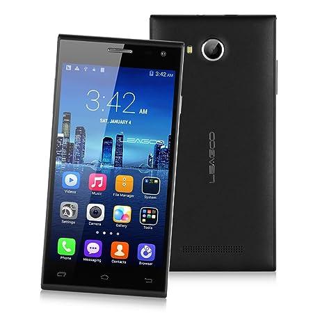 "Noir LEAGOO LEAD 5 Smartphone 3G Quad Core 5,0"" IPS Ecran HotKnot Android 4.4 Quad Core MTK6582 1Go RAM+8Go ROM Double SIM Double Caméra 5MP support WIFI GPS Bluetooth Compatible avec Orange SFR Bouygues Free Dommel Mobistar Proximus etc + cad"