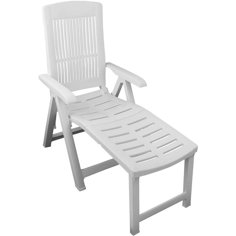 Klappbarer Liegestuhl Gartenstuhl Klappstuhl Deckchair Gartenliege Sonnenliege Relaxliege Lehne 5 Positionen verstellbar Balkonmöbel Terrassenmöbel Gartenmöbel Kunststoff - Weiß