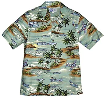 Island Aviation Men's Hawaiian Aloha Cotton Shirt at Amazon Men's