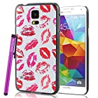 BeeShine Retail Package Multiple Red Lips Pattern Galaxy S5 Snap-on Hard Plastic Skin Back Case Cover W/ LCD Film Screen Protector & Touch Stylus Pen for Samsung Galaxy S5 / SV /G900