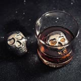 Whiskey Stones B-Kitchen [Stainless Steel] Rocks [Set of 2 Large] Ice Cubes Chilling Stones for Wine Beer Scotch and Vodka,with Ice Tong & Carrying Pouch (Skull Head 2 Pack)