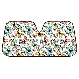 BDK Butterfly SunShade - Folding Accordion - Colorful Butterflies Surreal Stencil - 58\