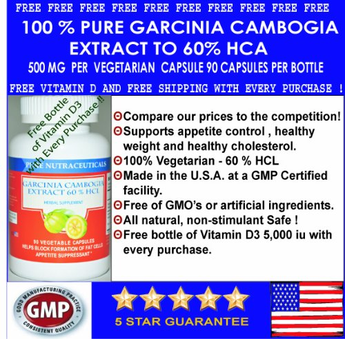 #1 Pure Garcinia Cambogia Extract 60% Hca Free Shipping And Free Vitamin D 3 - Best Seller 500 Mg 90 Veggie Caps - 1,500 Mg Per Serving