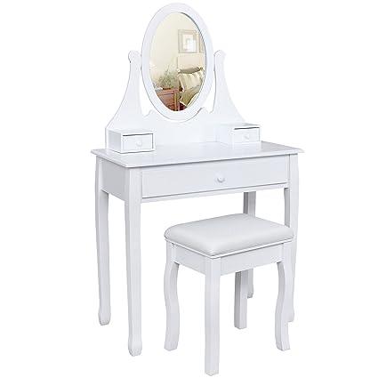 Songmics Tocador con cajones, espejo y taburete mesa de maquillaje blanco RDT002