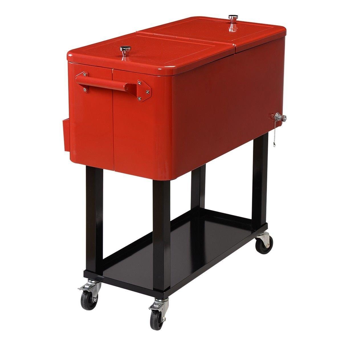 Portable bar cooler rolling patio deck cart beer storage for Mobili bar cart