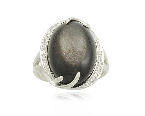 Black Moonstone Diamond Ring (0.04 cttw) | Moonstone Rings