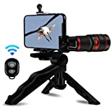 Cell Phone Camera Lens, AIKEGlobal 20X Zoom Telephoto Lens, Stronger Phone Tripod, Wireless Remote Shutter,Phone Holder Compatible iPhone, Samsung,iPad and Most Smartphones (Color: 20X Telephoto)