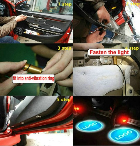 2 x Gold 5 Gen LED car door Ghost Shadow laser projector logo light for Chevrolet Chevy Aveo Camaro Caprice Captiva Celta by lovelife-5 stars