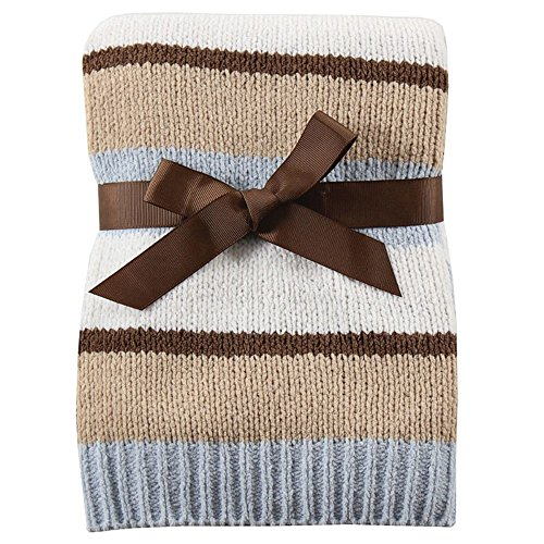Hudson Baby Striped Chenille Blanket, Blue