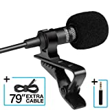 Lavalier Lapel Microphone, Omnidirectional 3.5mm Condenser Mic, Best for iPhone Android Smartphones Recording/YouTube/Podcast/Voice Dictation/Video Co