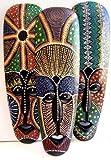 Cornwall Art Prints Maske, Aboriginal-Stil, aus Holz, handbemalt, zum Aufhängen, 50°cm