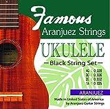 【Famous】 ウクレレ ブラック弦セット (フェイマス ソプラノ コンサート テナー )