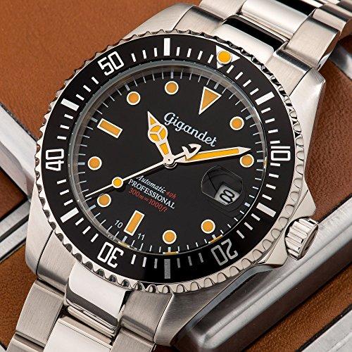 Gigandet Automatik Herren-Armbanduhr Sea Ground Vintage Taucheruhr Uhr Datum Analog Edelstahlarmband Schwarz Silber G2-007 2