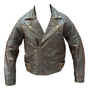 brun rétro brando en cuir veste moto cruiser