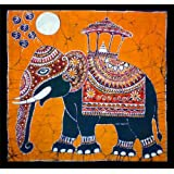 Batik Wall Hanging - Elephant (Hand made Batik Art) Orange Backgroundby Nethara