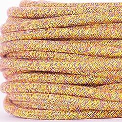 Textilkabel für Lampe, Textilummanteltes Rundkabel, dreiadrig 3x0,75mm², Retro, warme Herbstfarben