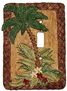 Decorative Light Switchplate Tropical Palm Tree Single Switch Plate Cover by Vickilane Creative Design