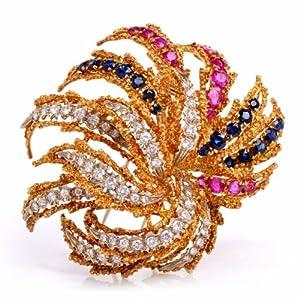 Vintage 13.48cts Burma Ruby & Sapphire Diamond 18k Gold Firework Pin