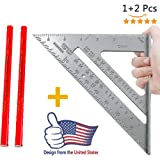 7-Inch Carpenters Aluminum Square, 2Pcs Woodworking pen + Aluminum Rafter Carpenter Triangle Square Pressional Easy-Read Layout Tool framing square