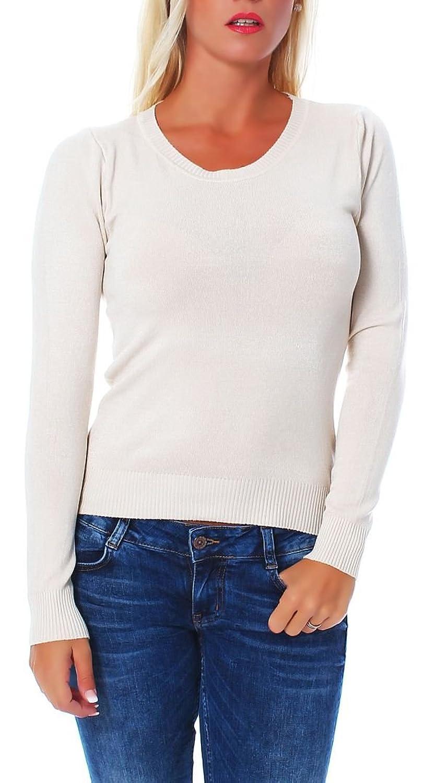 Basic Strickpullover Rundhals langarm Shirt Longsleeve A9910 Damen günstig kaufen