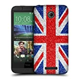 Head Case Designs Red and Blue Glitter Union Jack Collection Protective Snap-on Hard Back Case Cover for HTC Desire 510