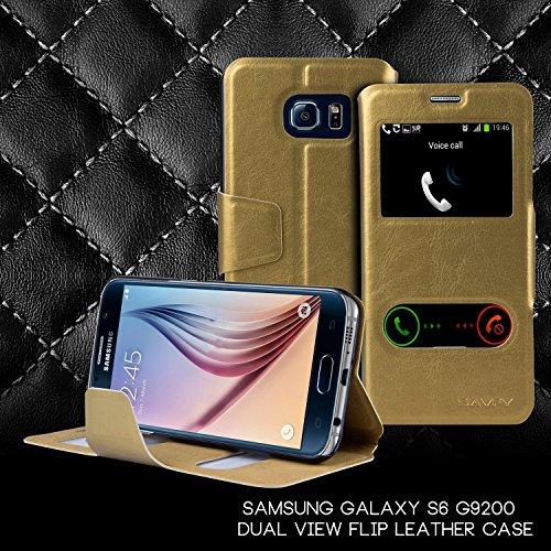 SAVFY® Samsung Galaxy S6 Hülle Tasche Doppel View Fenster Case Kunstleder Schutztasche mit Magnetverschluss für S6 G9200 - gold